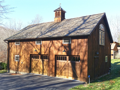 Custom Ridgefield Queenpost Barn With Overhead Garage Doors